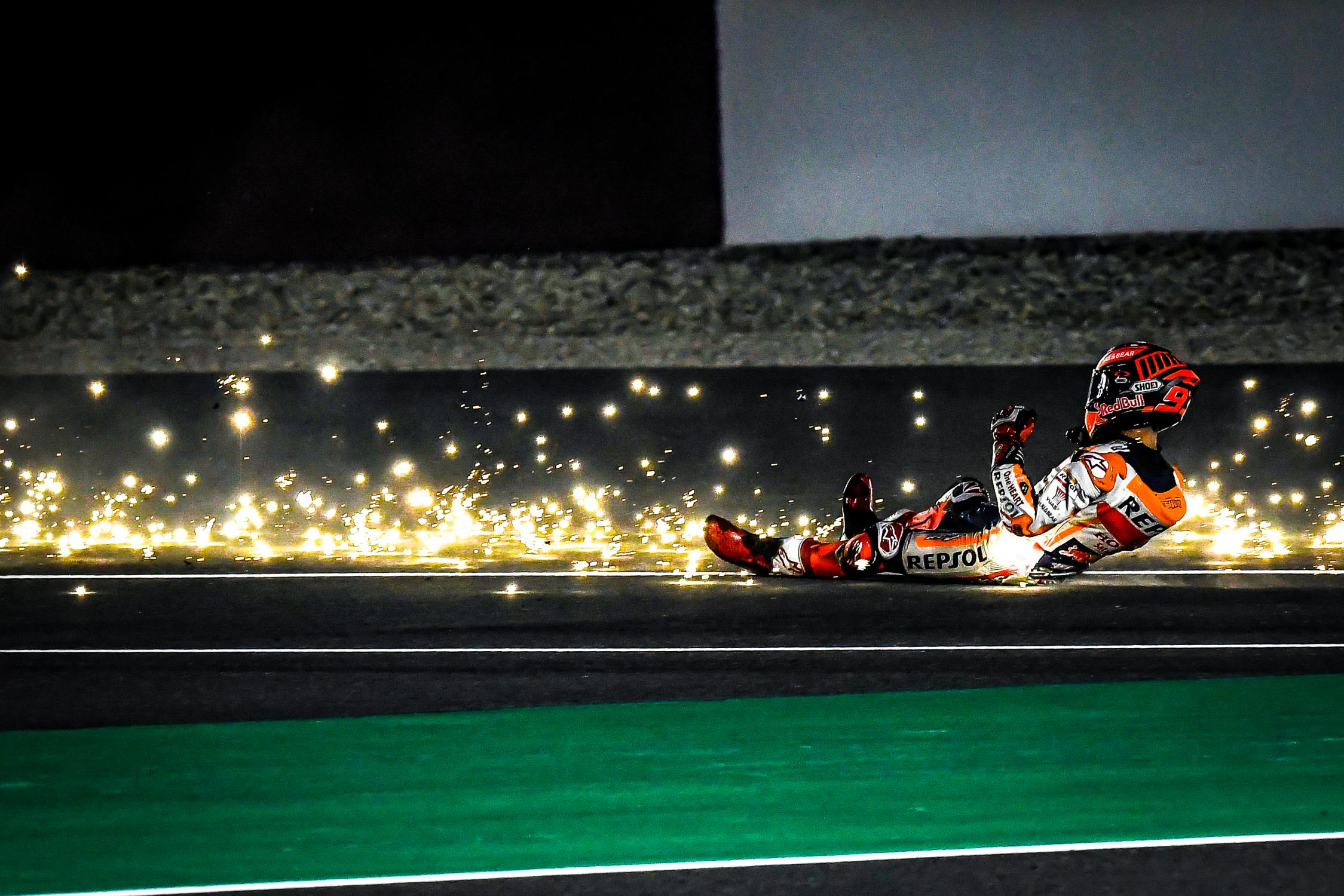 MOTO GP- Grand Prix du Qatar – Losail-10 mars 2019 Marc-marquez-losail-crash-motogp-test-2019