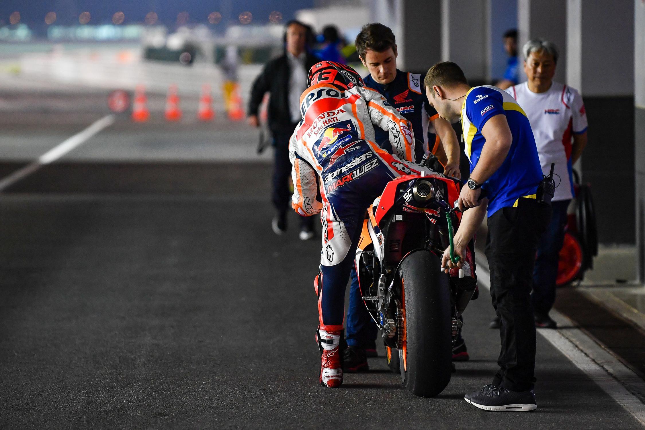 MOTO GP- Grand Prix du Qatar – Losail-10 mars 2019 Marc-marquez-qatar-test-motogp-2019-pitlane