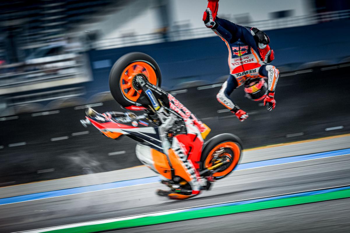 MOTO GP : GRAND PRIX DE THAÏLANDE DU 4 AU 6 OCTOBRE 2019 Marc-marquez-thailande-crash-motogp-fp1-2019-1