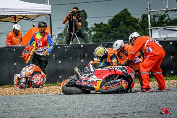 MOTO GP : GRAND PRIX DE THAÏLANDE DU 4 AU 6 OCTOBRE 2019 Marc-marquez-thailande-crash-motogp-fp1-2019-5-597x398