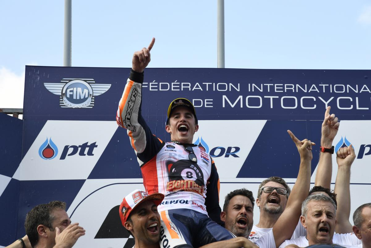 MOTO GP : GRAND PRIX DE THAÏLANDE DU 4 AU 6 OCTOBRE 2019 Marc-marquez-thailande-podium-motogp-2019
