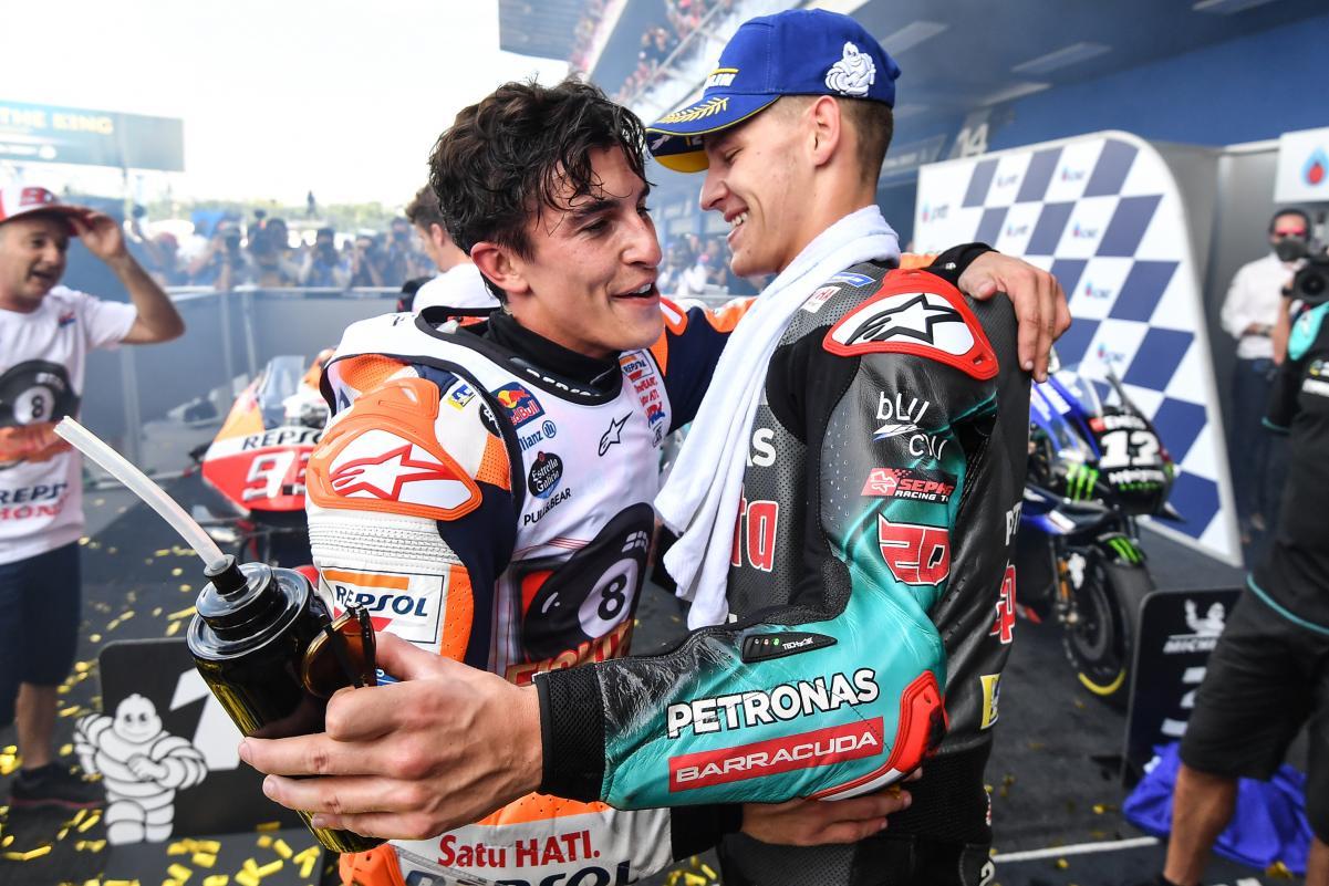 MOTO GP : GRAND PRIX DE THAÏLANDE DU 4 AU 6 OCTOBRE 2019 Marquez-quartararo-thailande-motogp-2019-podium