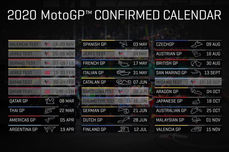 La version définitive du calendrier MotoGP 2020 – GP Inside