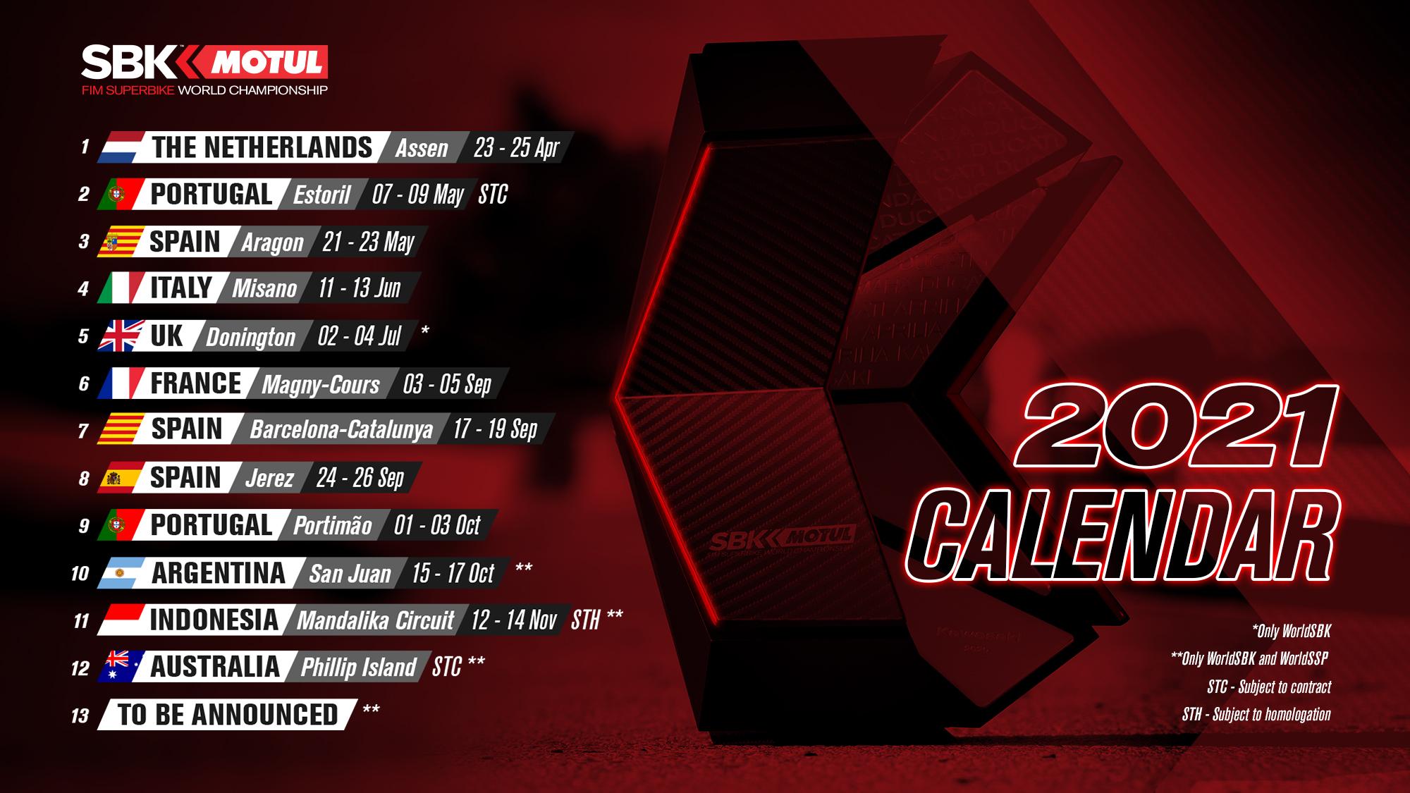 Première version du calendrier WSBK 2021 – GP Inside
