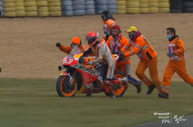 MOTO GRAND PRIX DE FRANCE Marc-marquez-chute-fp4-lemans-motogp-2021